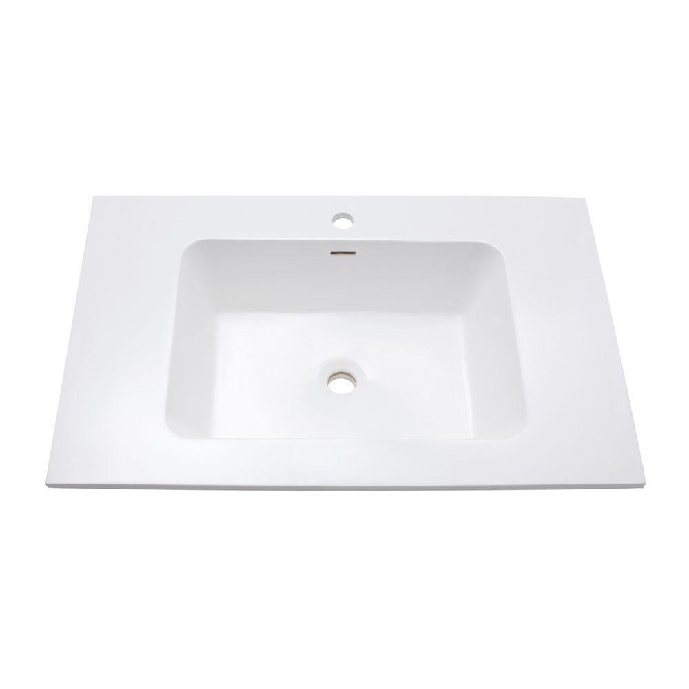 Comptoir de meuble-lavabo uni VersaStone de 31 po avec cuvette intégrée au fini lustré