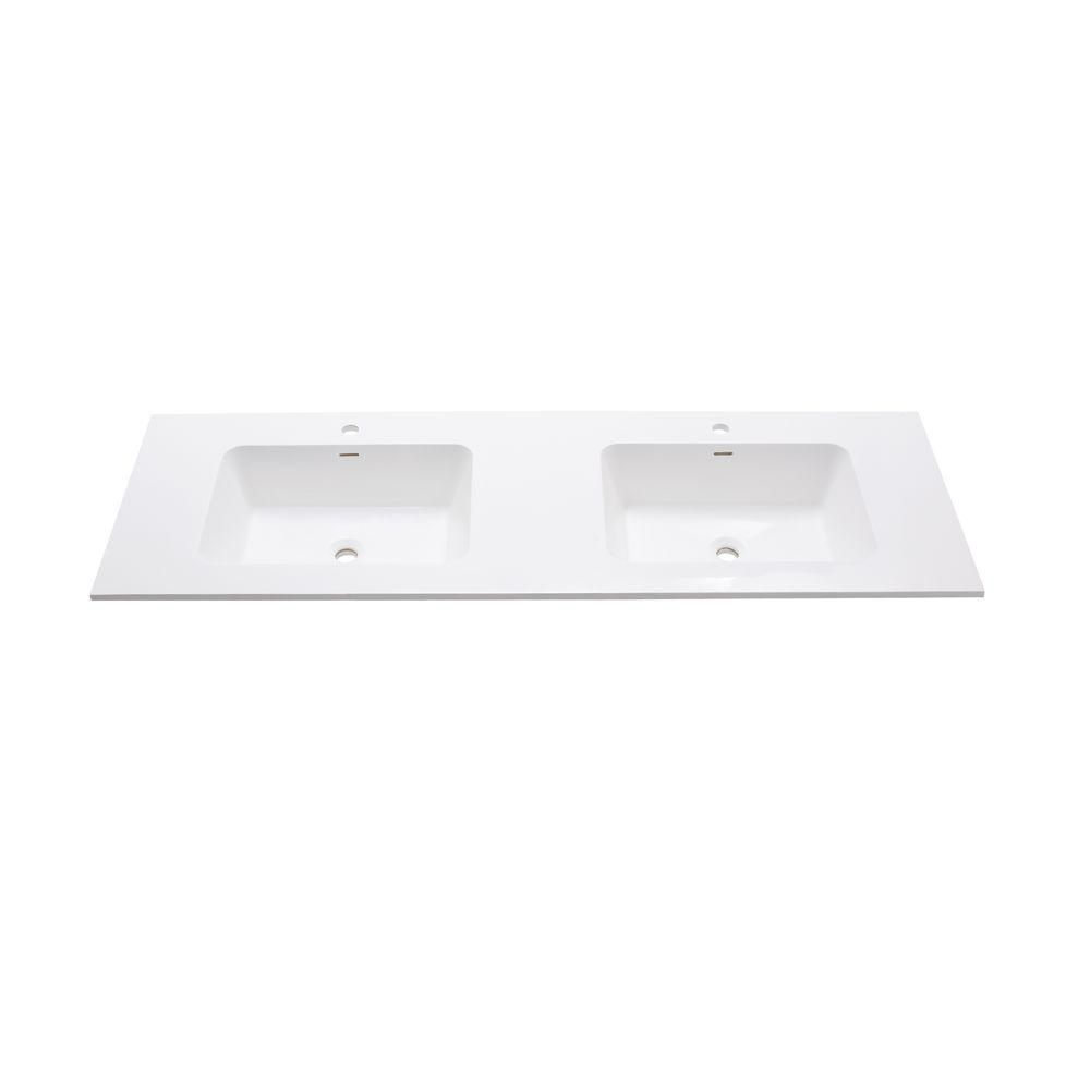 VersaStone 63-Inch W Solid Surface Vanity Top in White