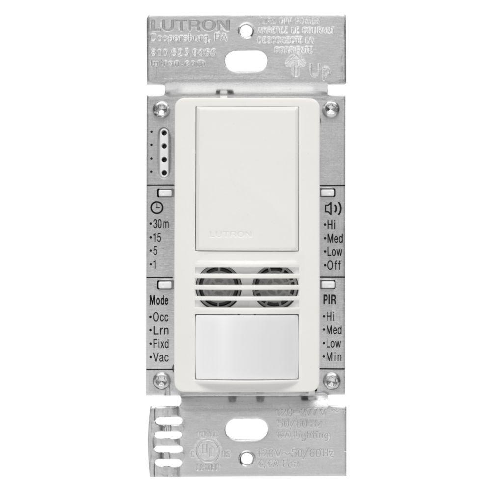 Lutron Maestro 6-Amp 3-Way/Multi-Location Dual Tech Occupancy Sensor Switch, White