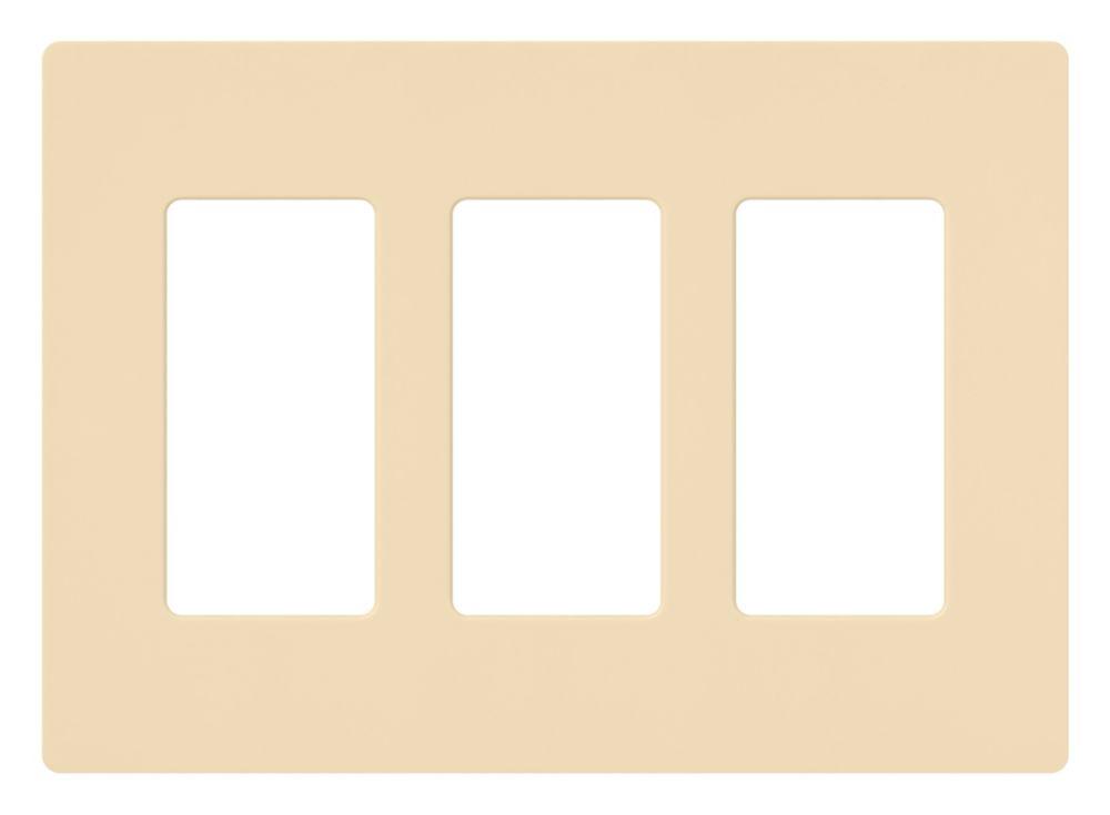 Lutron Claro 3-Gang Wall Plate, Ivory