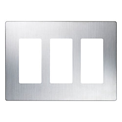 Lutron Claro 3-Gang wall plate, Stainless Steel