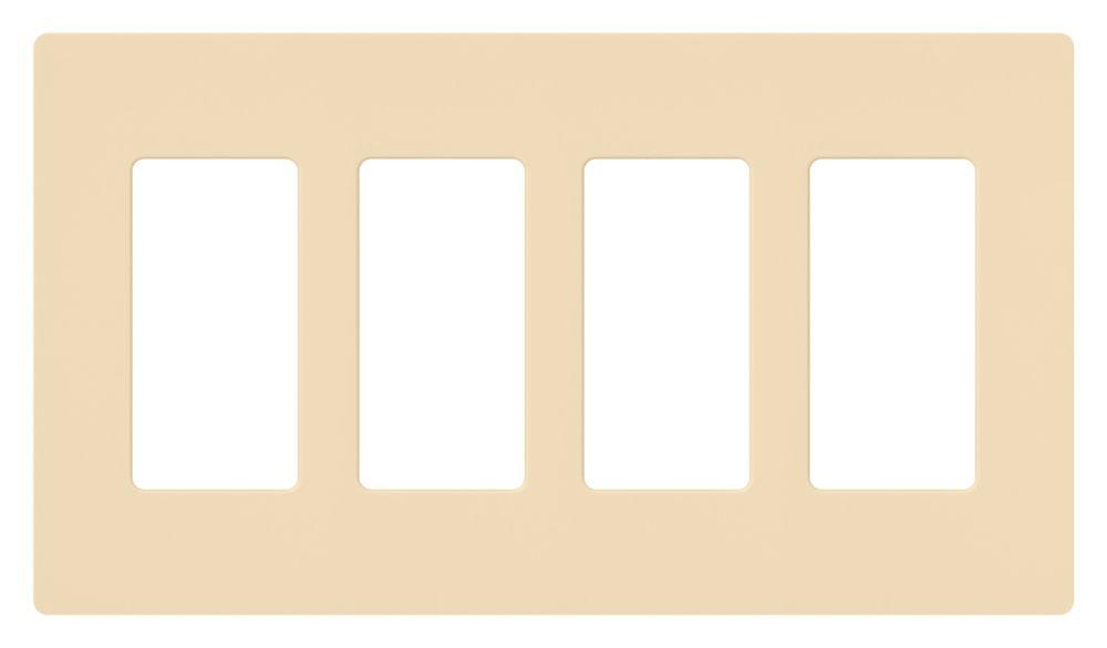 Claro 4-Gang Wallplate, Ivory