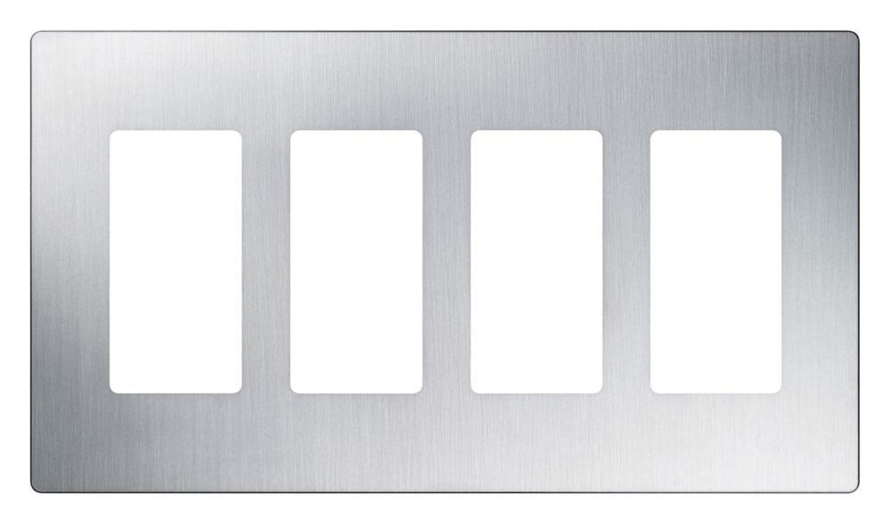 Lutron Claro 4-Gang wall plate, Stainless Steel