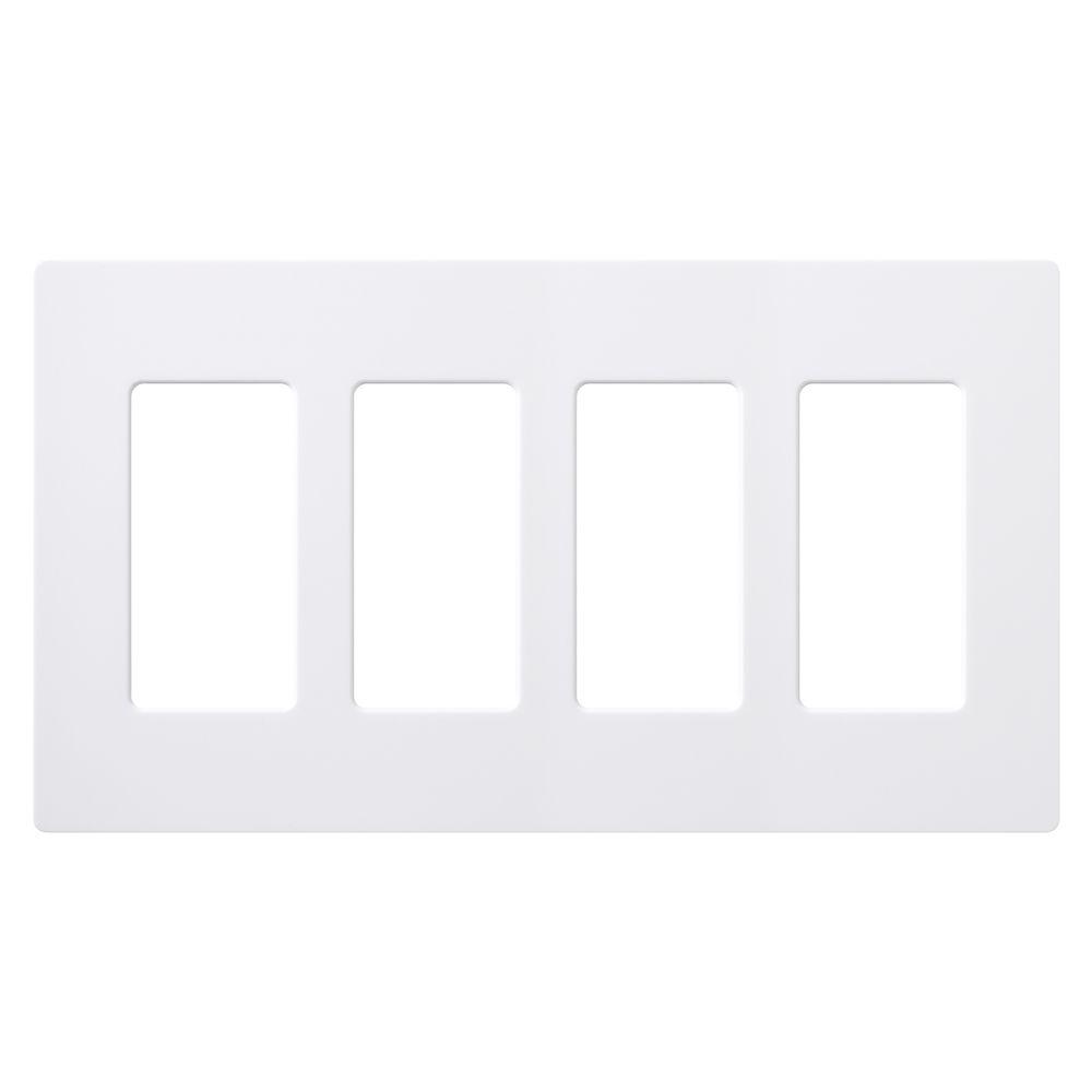 Claro 4-Gang Wallplate, White