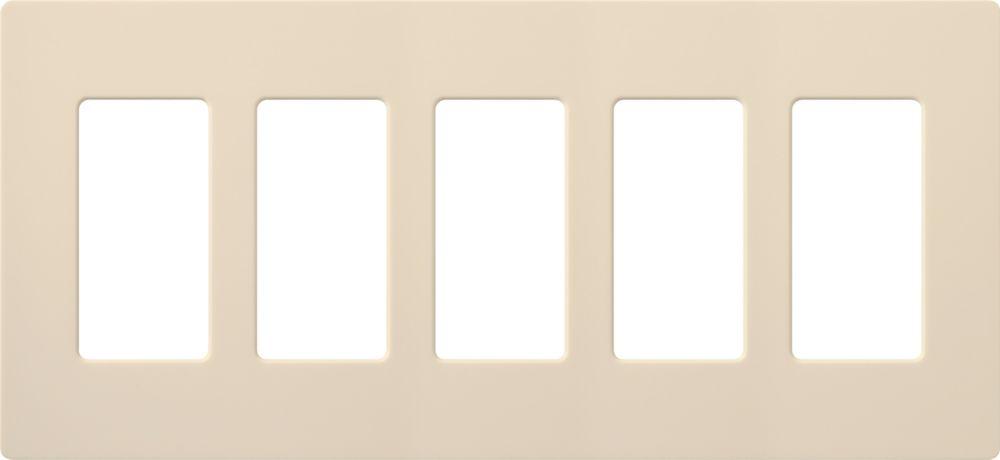Claro 5-Gang Wallplate, Light Almond