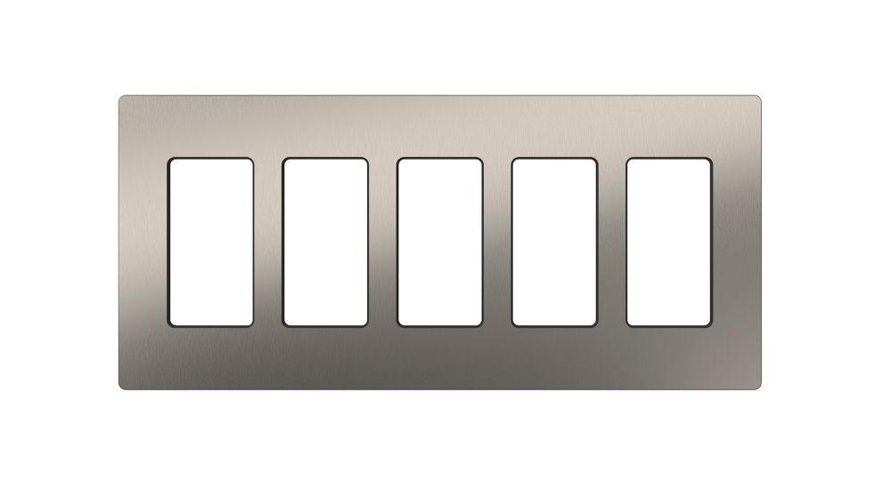 Claro 5-Gang Wallplate, Stainless Steel