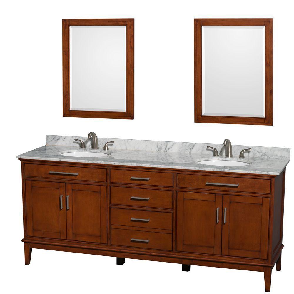 Hatton 80 po Meuble châtain clair et revêtement en marbre blanc Carrare, éviers blancs et miroirs