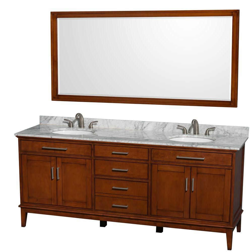 Hatton 80-inch W Vanity in Light Chestnut with Marble Top, Sinks and 70-inch Mirror