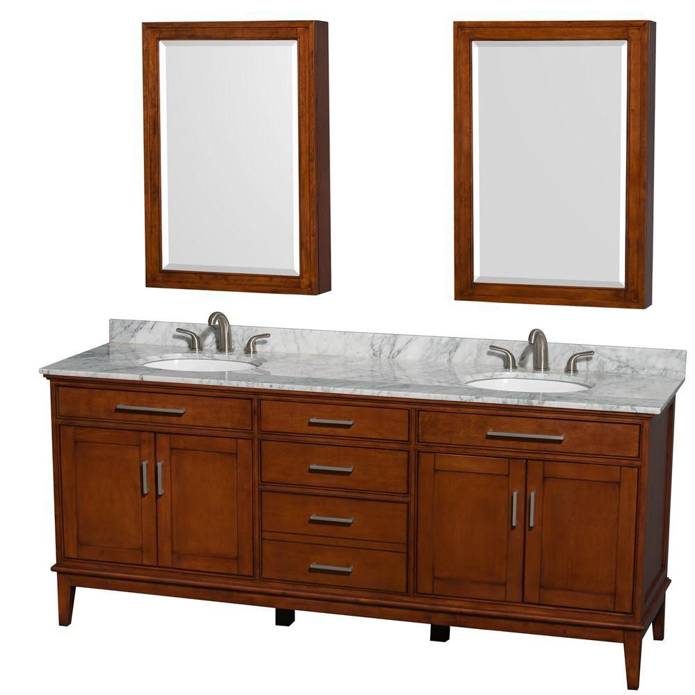 Hatton 80-inch W Vanity in Light Chestnut with Marble Top, Oval Sinks and Medicine Cabinet