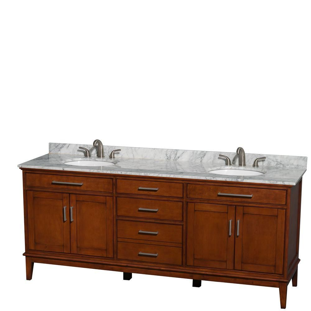 Hatton 80-inch W Double Vanity in Light Chestnut with Marble Top in Carrara White and Oval Sinks
