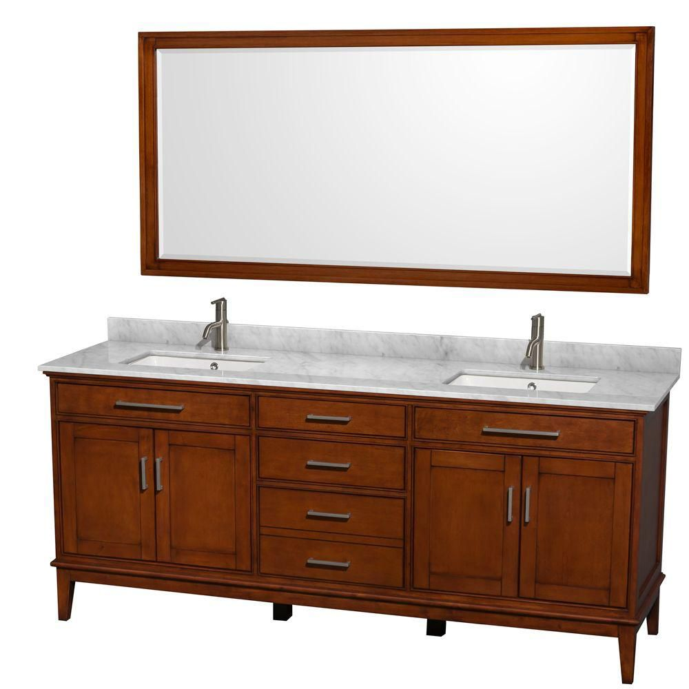 Hatton 80-inch W Vanity in Light Chestnut with Marble Top in Carrara White, Square Sinks and Mirr...