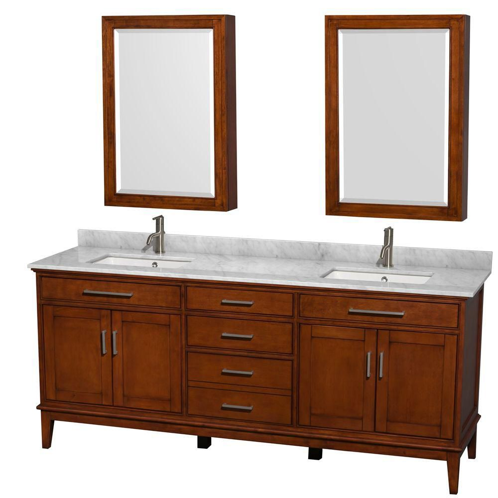 Hatton 80-inch W 3-Drawer 4-Door Vanity in Brown With Marble Top in White, Double Basins With Mirror