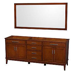 Wyndham Collection Hatton 78 1/2-inch  Vanity Cabinet with Mirror in Light Chestnut