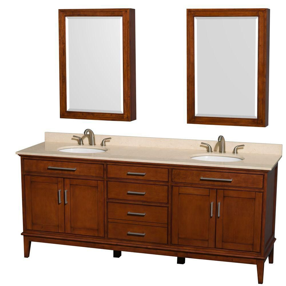 Hatton 80-inch W Vanity in Light Chestnut with Marble Top, Sinks and Medicine Cabinet