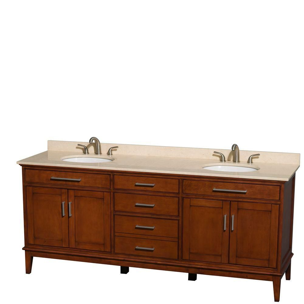Hatton 80-inch W Double Vanity in Light Chestnut with Marble Top in Ivory and Oval Sinks