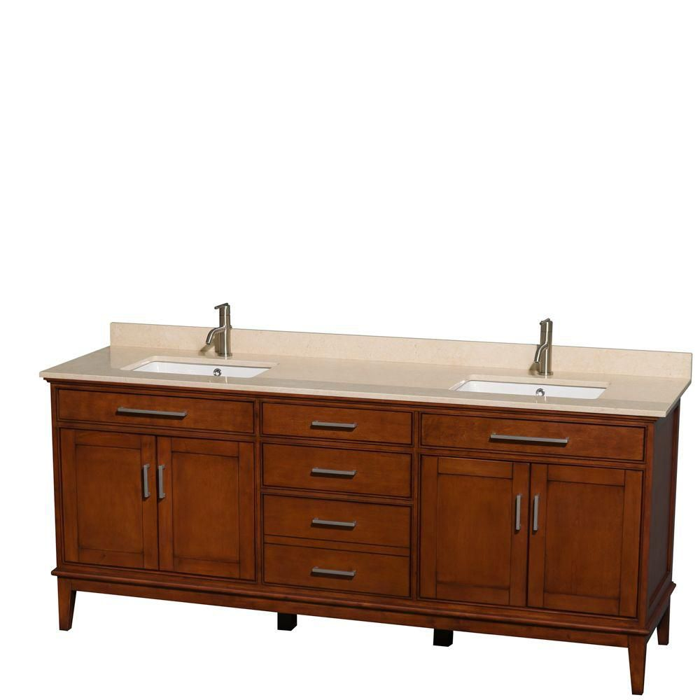 Hatton 80-inch W Double Vanity in Light Chestnut with Marble Top in Ivory and Square Sinks