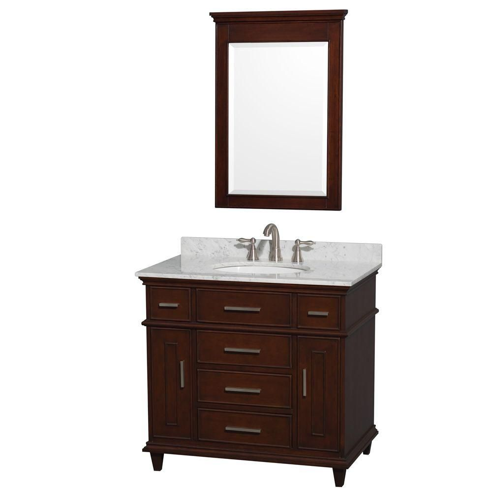 Berkeley 36-inch W Vanity in Dark Chestnut with Marble Top in Carrara White, Oval Sink and Mirror