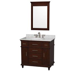 Wyndham Collection Berkeley 36-inch W 5-Drawer 2-Door Freestanding Vanity in Brown With Marble Top in White With Mirror