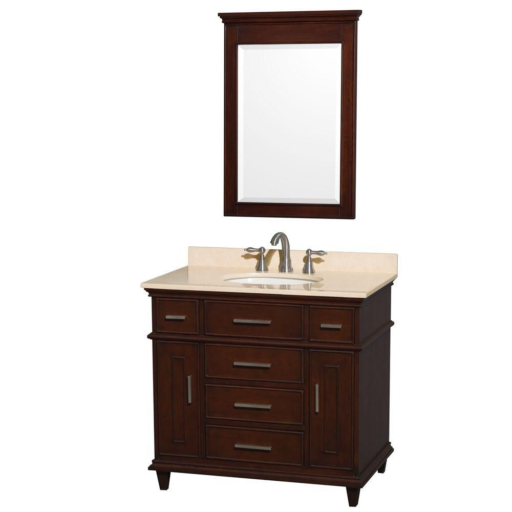 Berkeley 36-inch W Vanity in Dark Chestnut with Marble Top in Ivory, Oval Sink and Mirror