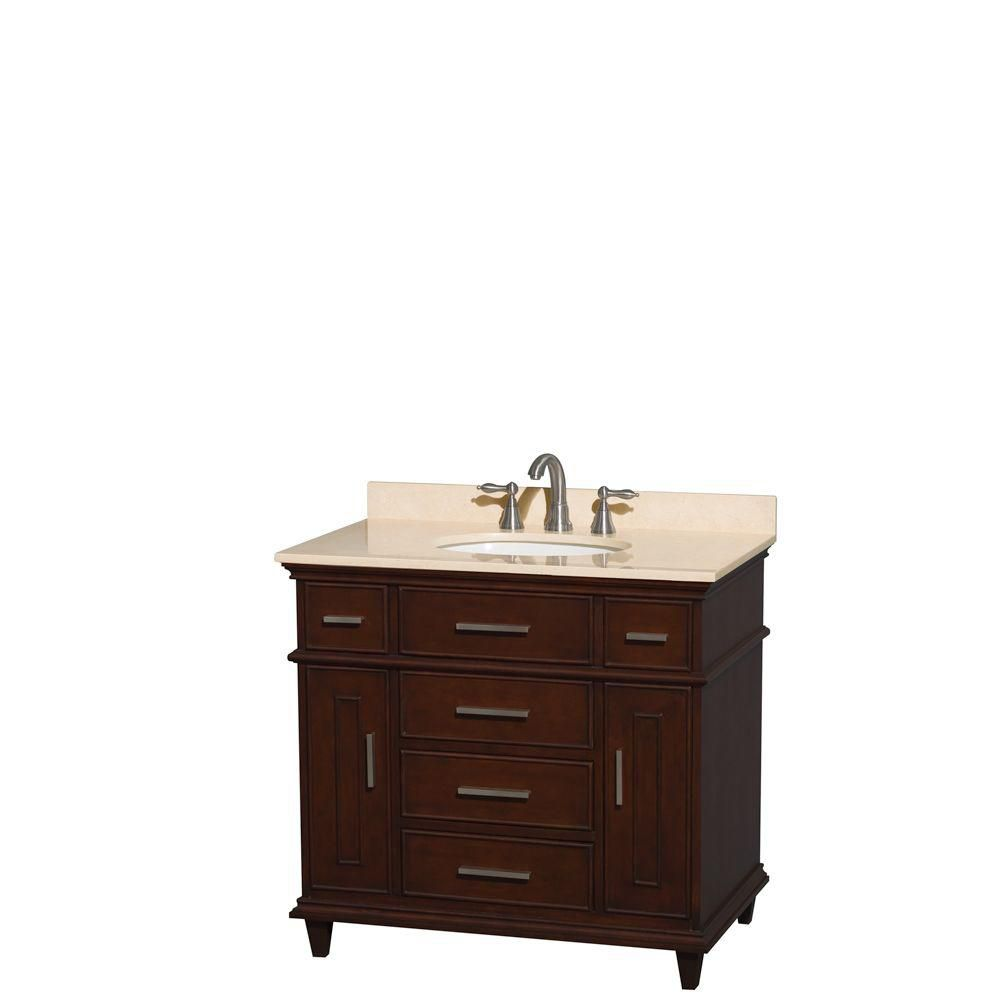 Berkeley 36-inch W 5-Drawer 2-Door Freestanding Vanity in Brown With Marble Top in Beige Tan