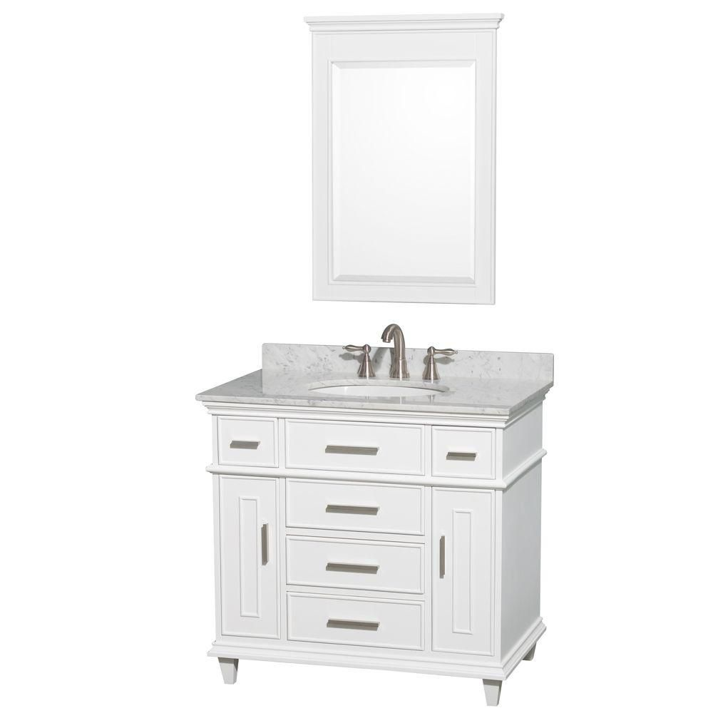 Berkeley 36-inch W Vanity in White with Marble Top in Carrara White and 24-inch Mirror
