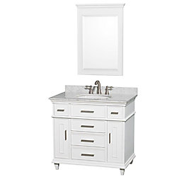 Wyndham Collection Berkeley 36-inch W 5-Drawer 2-Door Freestanding Vanity in White With Marble Top in White With Mirror