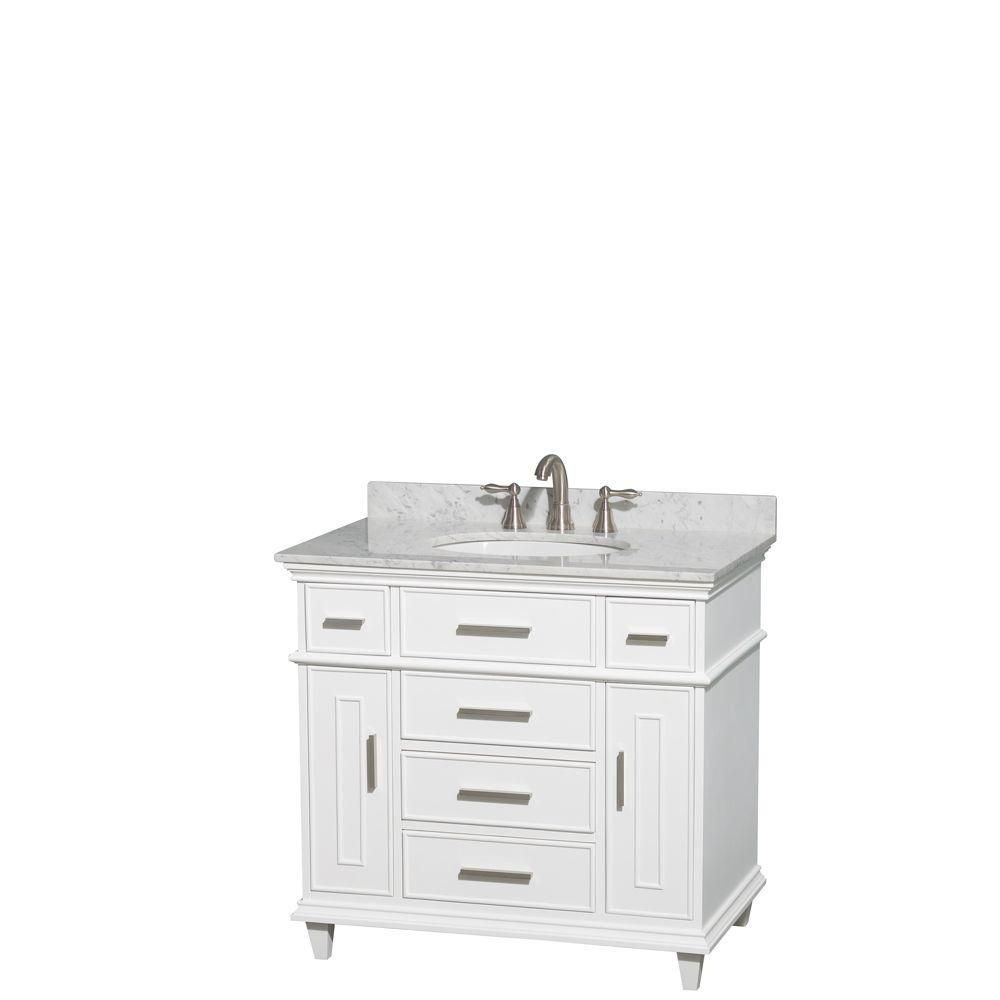 Wyndham Collection Berkeley 36-inch Vanity in White with Marble Vanity Top in Carrara White and Oval Basin