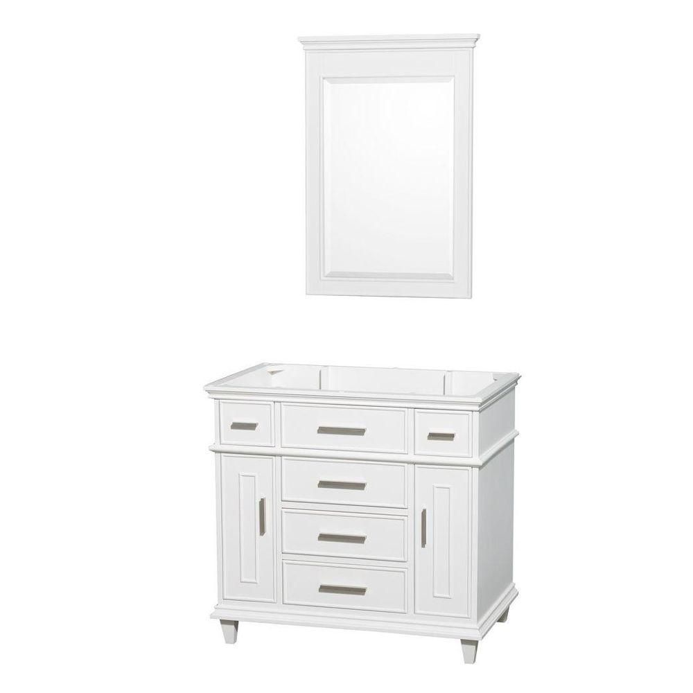 Wyndham Collection Berkeley 36-Inch  Vanity Cabinet with Mirror in White