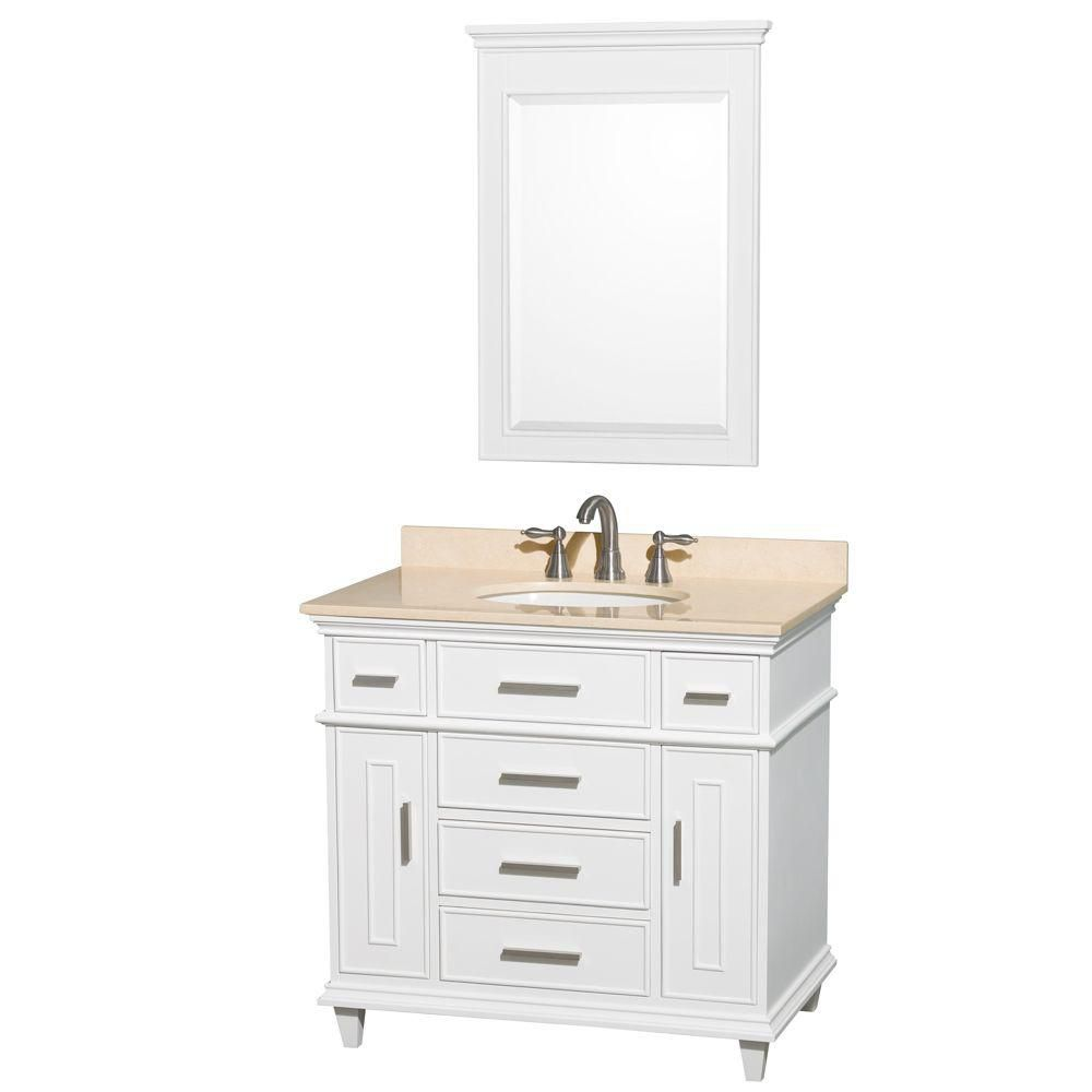 Berkeley 36-inch W Vanity in White with Marble Top in Ivory, Oval Sink and Mirror