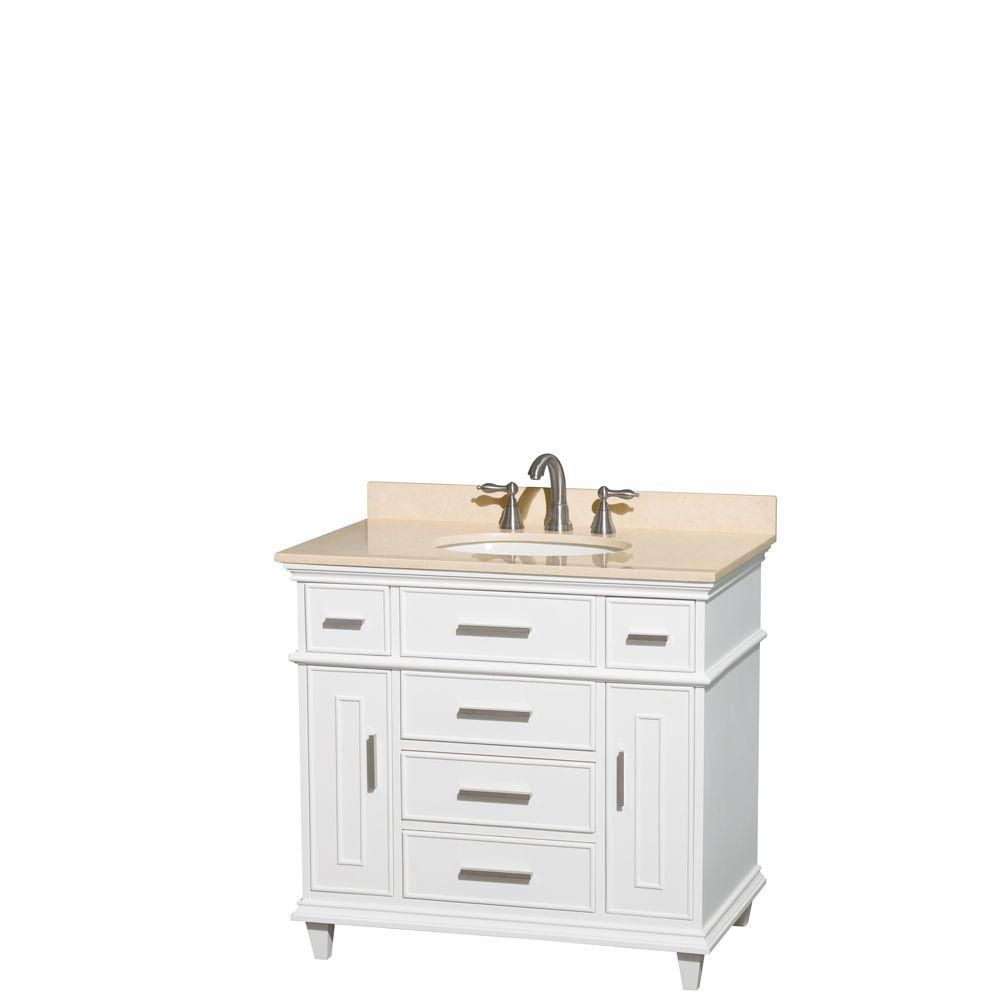 Berkeley 36-inch W Vanity in White with Marble Top in Ivory and Oval Sink
