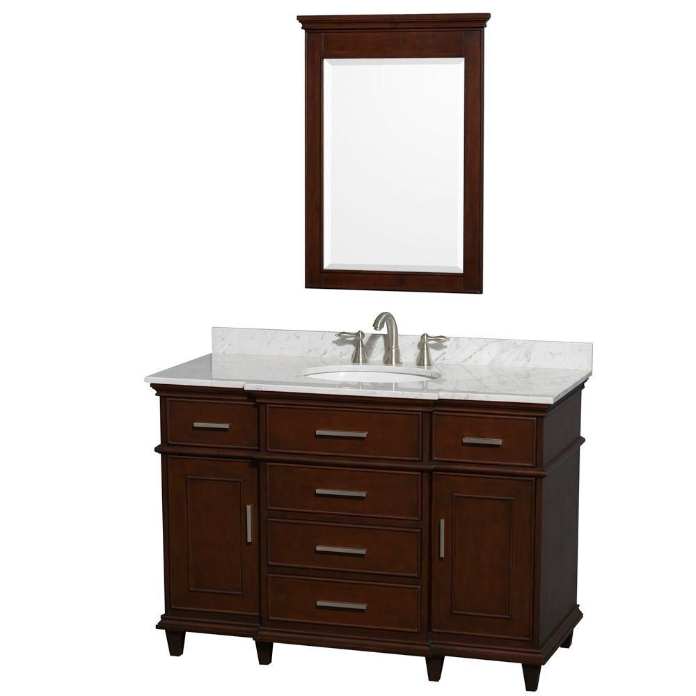 Berkeley 48-inch W Vanity in Dark Chestnut with Marble Top, Oval Sink and Mirror