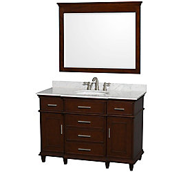 Wyndham Collection Berkeley 48-inch W 5-Drawer 2-Door Freestanding Vanity in Brown With Marble Top in White With Mirror