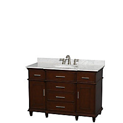Wyndham Collection Berkeley 48-inch W 5-Drawer 2-Door Freestanding Vanity in Brown With Marble Top in White