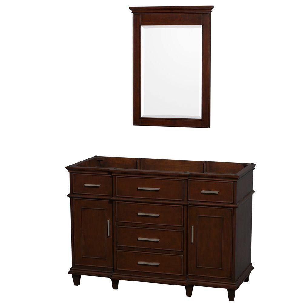 Berkeley 48-Inch  Vanity Cabinet with Mirror in Dark Chestnut
