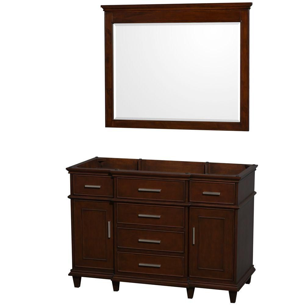 Wyndham Collection Berkeley 48-Inch  Vanity Cabinet with Mirror in Dark Chestnut