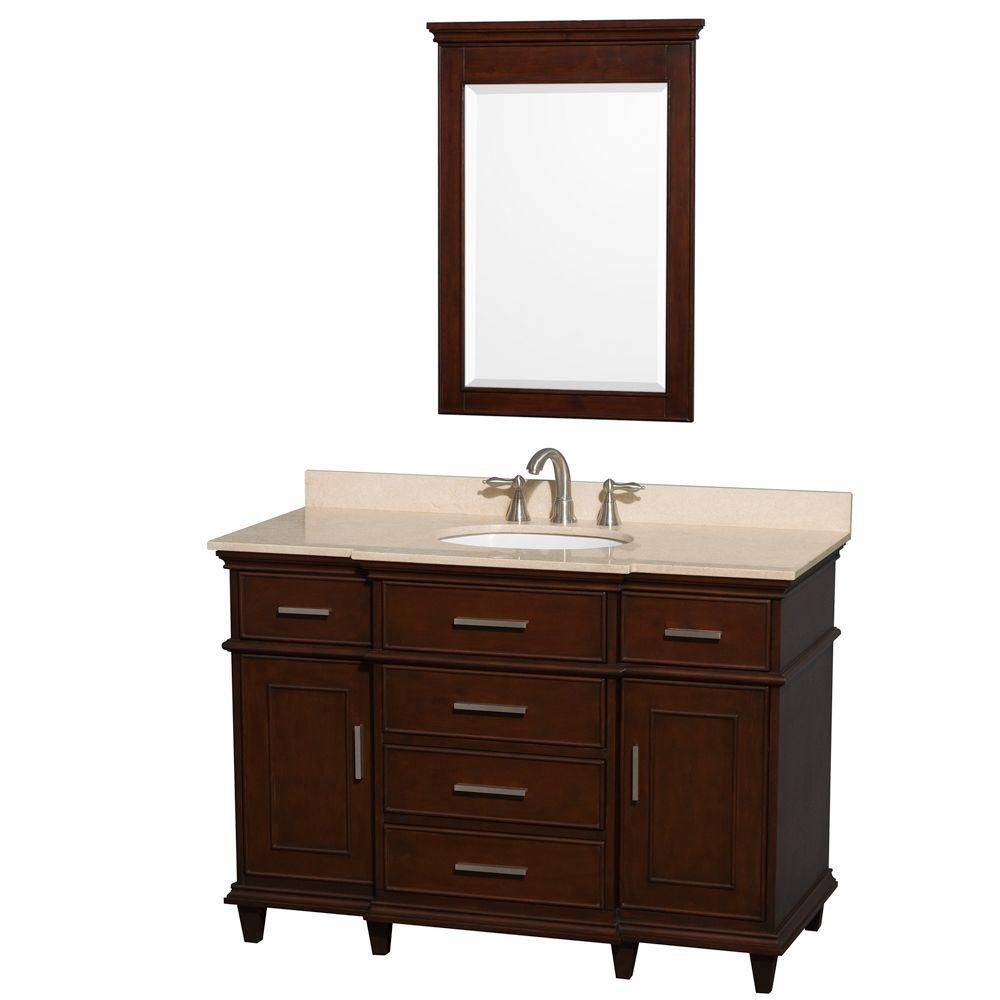 Berkeley 48-inch W Vanity in Dark Chestnut with Marble Top, Oval Sink and 24-inch Mirror