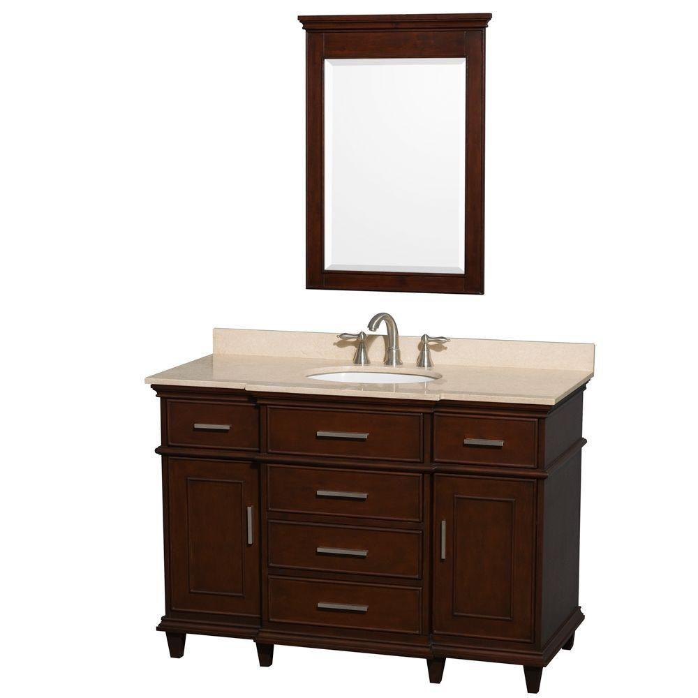 Wyndham Collection Berkeley 48-inch W 5-Drawer 2-Door Vanity in Brown With Marble Top in Beige Tan With Mirror
