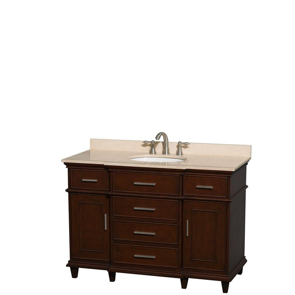 Berkeley 48-inch W Vanity in Dark Chestnut with Marble Top in Ivory and Oval Sink