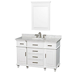Wyndham Collection Berkeley 48-inch W 5-Drawer 2-Door Freestanding Vanity in White With Marble Top in White With Mirror