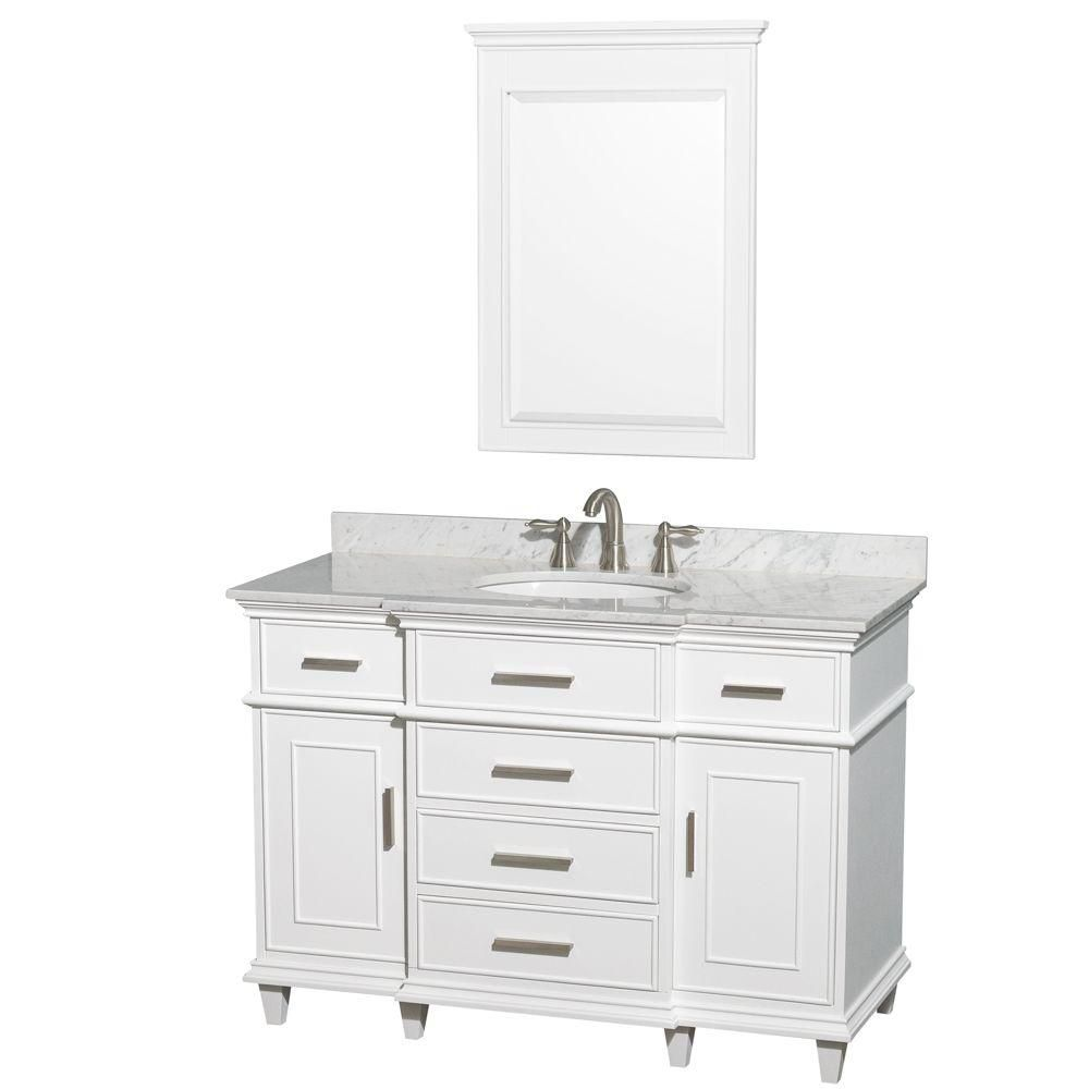 Berkeley 48-inch W Vanity in White with Marble Top in Carrara White and 24-inch Mirror