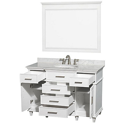 Wyndham Collection Berkeley 48 Inch Vanity In White With Marble Top Carrara Oval Sink And 44 Mirror The Home Depot Canada