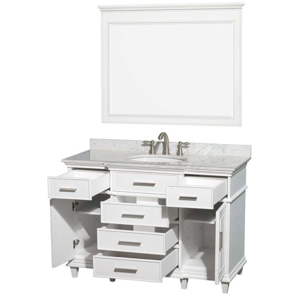 Wyndham Collection Berkeley 48-inch Vanity in White with Marble Top in Carrara White, Oval Sink and 44-inch Mirror