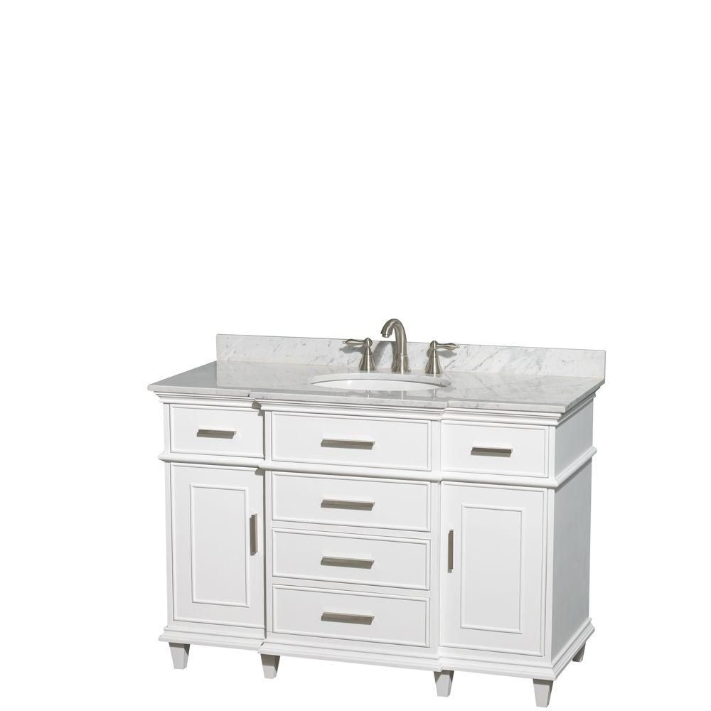 Berkeley 48-inch W Vanity in White with Marble Top in Carrara White and Oval Sink