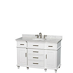Berkeley 48-inch Vanity in White with Marble Vanity Top in Carrara White and Oval Basin