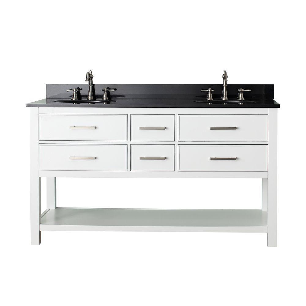 Avanity Brooks 61-inch W 4-Drawer Freestanding Vanity in White With Granite Top in Black, Double Basins