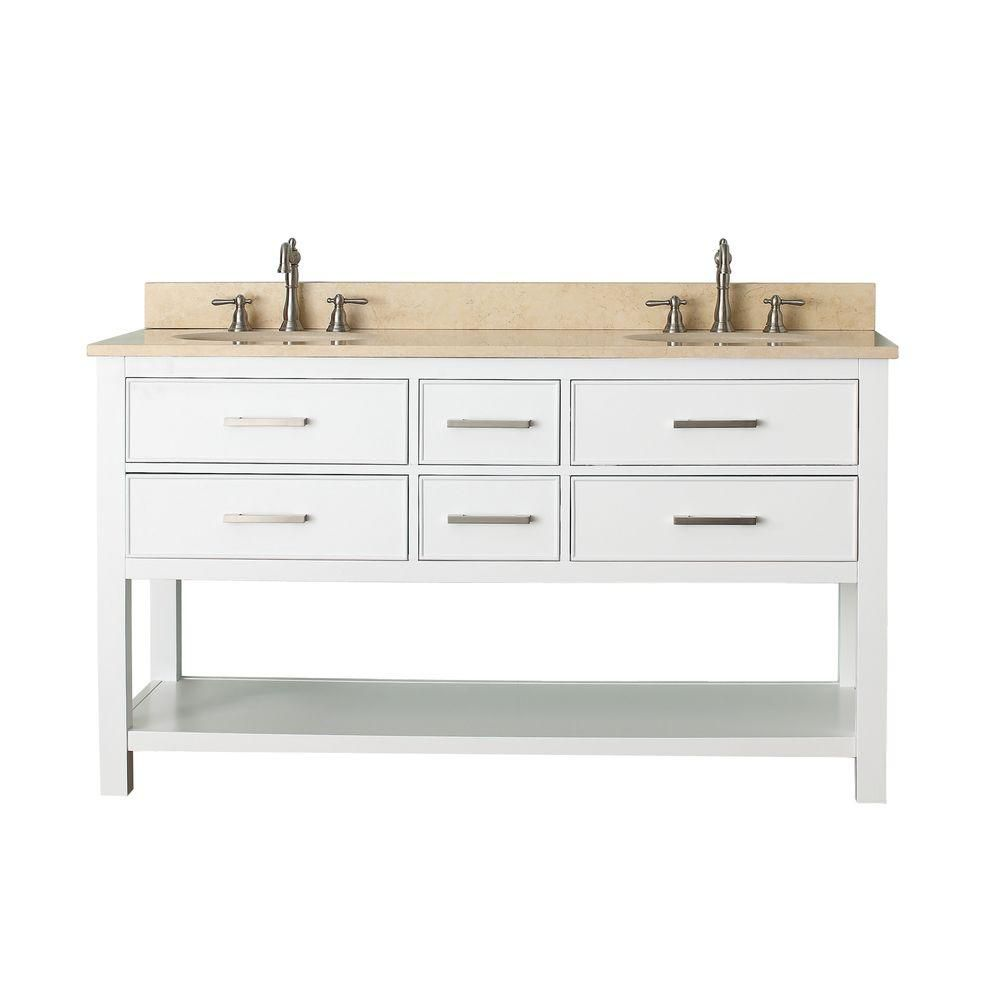 Brooks 61-inch W 4-Drawer Freestanding Vanity in White With Marble Top in Beige Tan, Double Basins