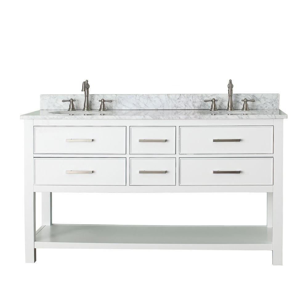 Berkeley 60-inch W Vanity in White Finish with Marble Top in Carrara White