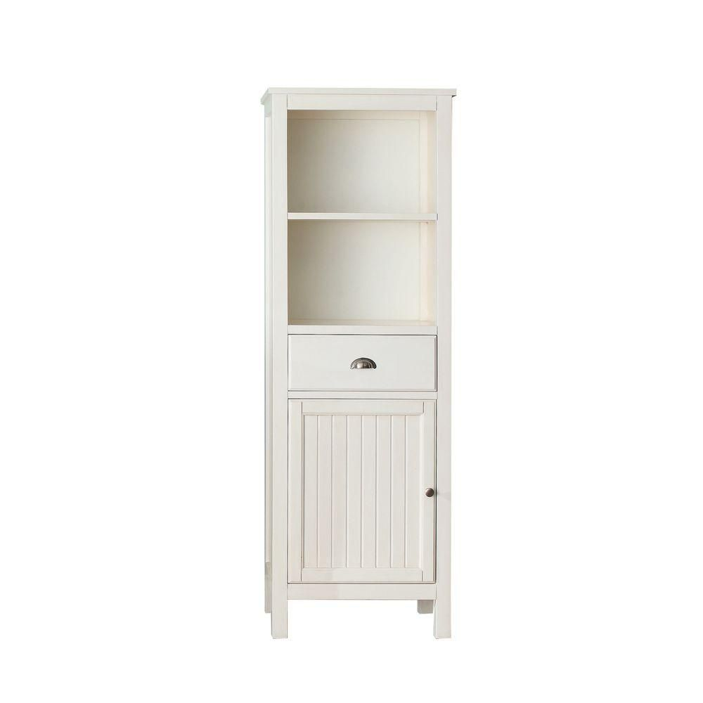 Avanity Hamilton 22-inch W x 65-inch H x 14-1/2-inch D Bathroom Linen Storage Tower Cabinet in French White