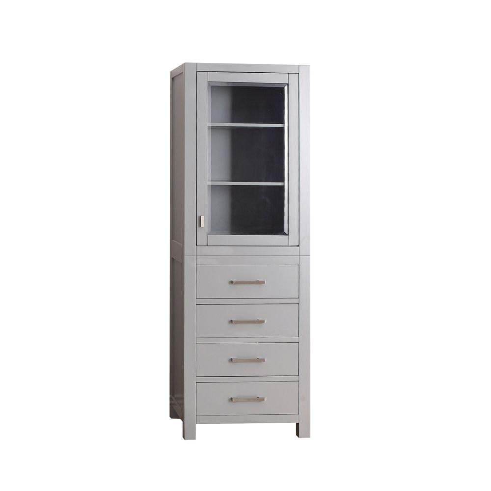 Avanity Modero 24-inch W x 71-inch H x 20-inch D Bathroom Linen Storage Tower Cabinet in Chilled Grey