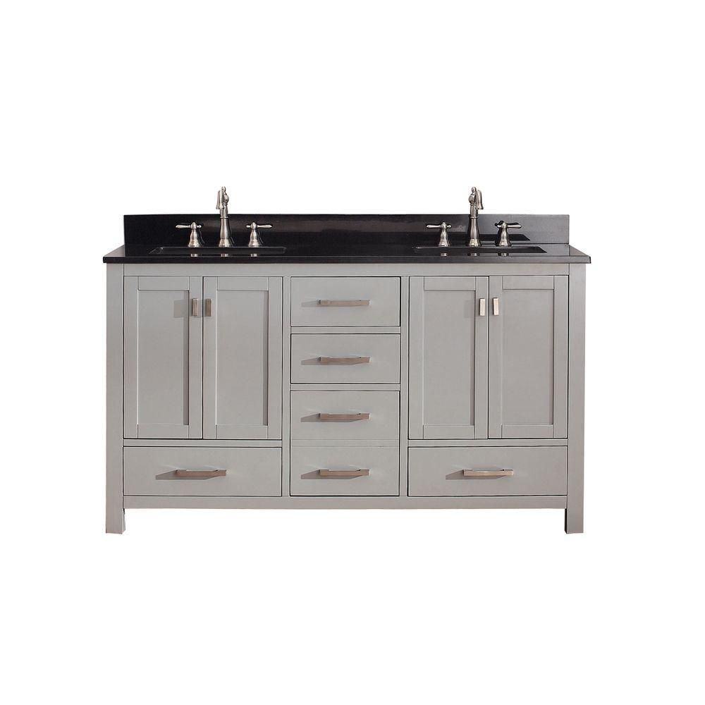 Modero 60-inch W Vanity in Chilled Grey Finish with Granite Top in Black